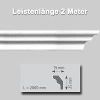 Zierprofile extrudiert aus Polystyrol 25/15 mm