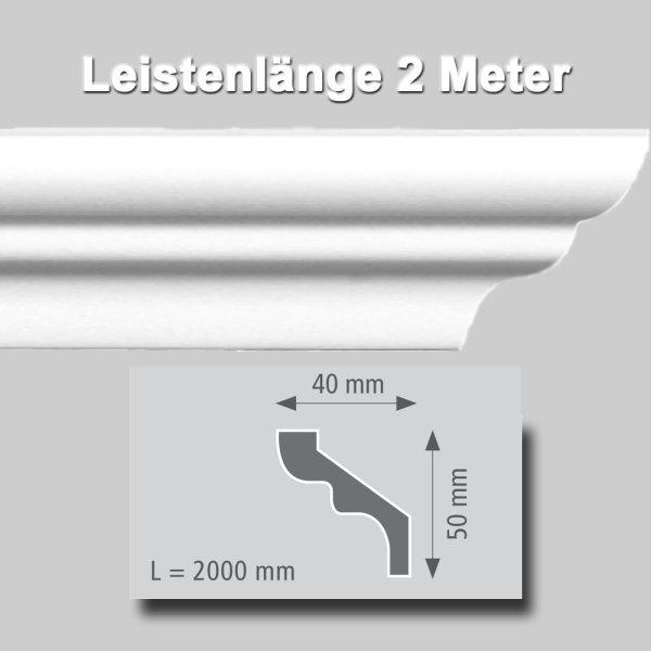 Zierprofile extrudiert aus Polystyrol 50/40 mm