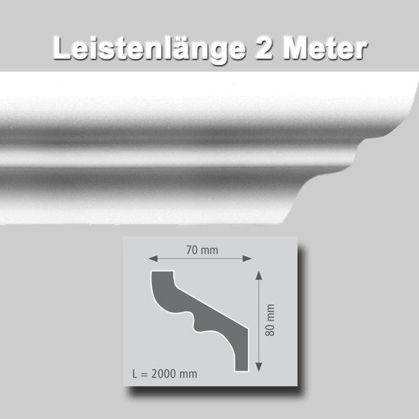 Zierprofile extrudiert aus Polystyrol 80/70 mm