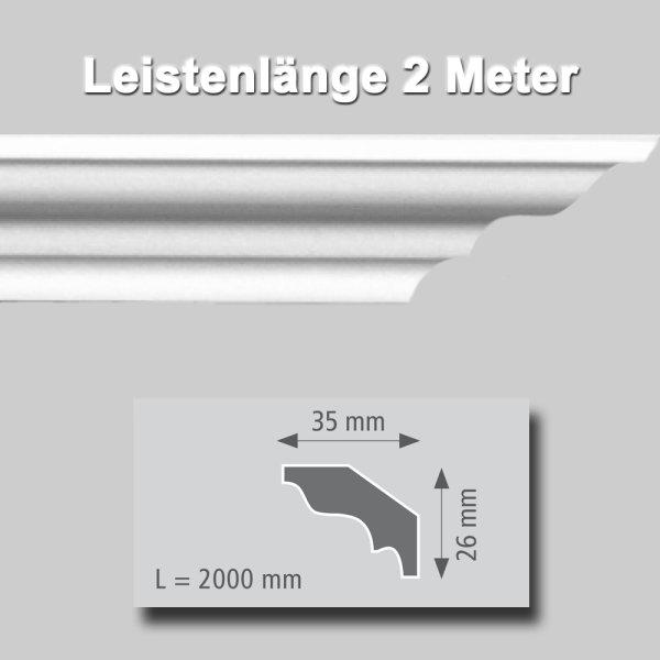 Zierprofile extrudiert aus Polystyrol 26/35 mm