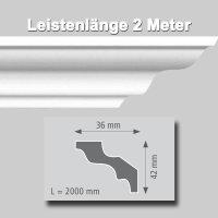Zierprofile extrudiert aus Polystyrol 36/42 mm