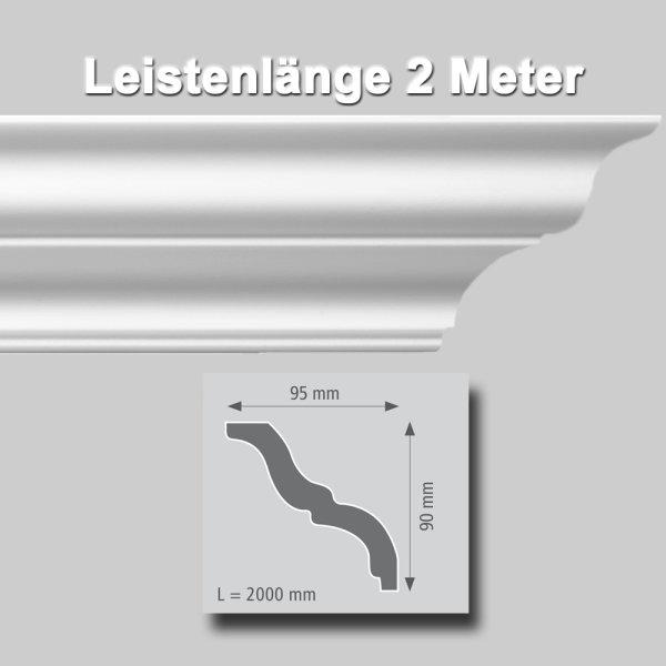 Zierprofile extrudiert aus Polystyrol 90/95 mm