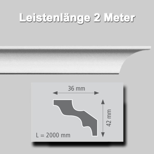 Zierprofile extrudiert aus Polystyrol 15/15 mm