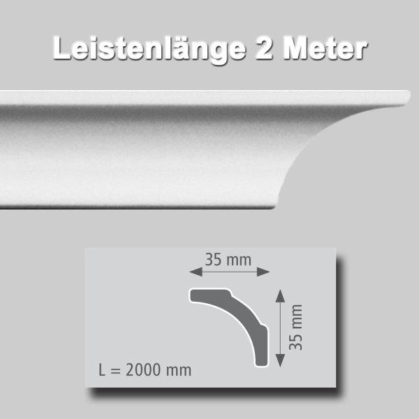 Zierprofile extrudiert aus Polystyrol 35/35 mm