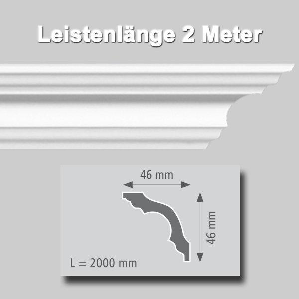 Zierprofile extrudiert aus Polystyrol 46/46 mm