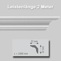 Zierprofile extrudiert aus Polystyrol 22/22 mm
