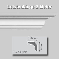 Zierprofile extrudiert aus Polystyrol 30/30 mm