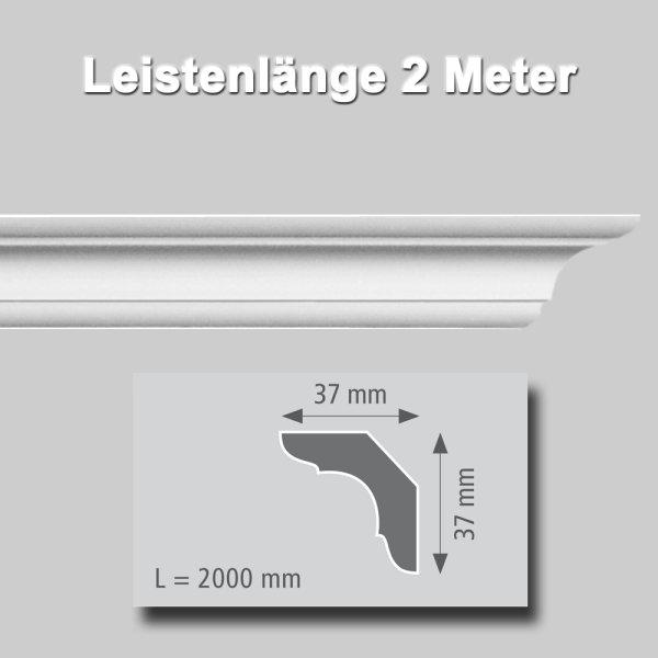 Zierprofile extrudiert aus Polystyrol 37/37 mm