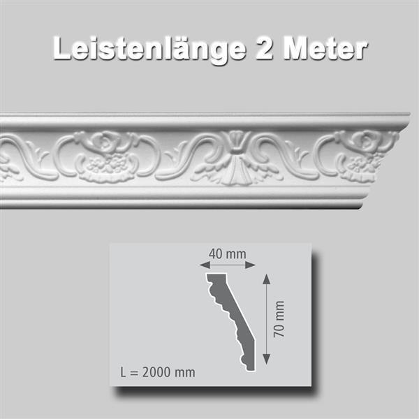 Zierprofile extrudiert Polystyrol 40 x 70 mm