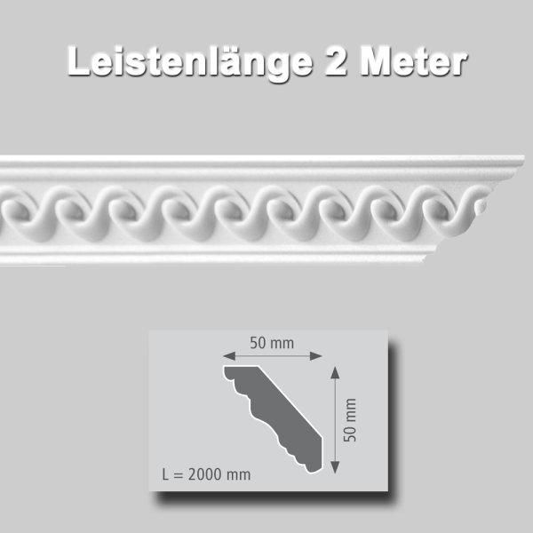 Zierprofile extrudiert Polystyrol 50 x 50 mm