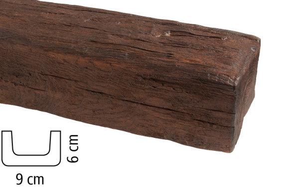 Balken Polyurethan - Eiche dunkel - 2 m lang 9 x 6 cm
