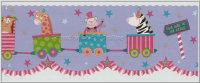 Bordüre Cheeky Monkeys lustiger Zirkus Zug Lasercut