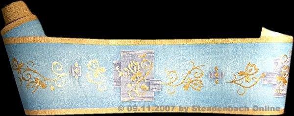 Tapetenborte Borte Bordüre  Grafik blau gold