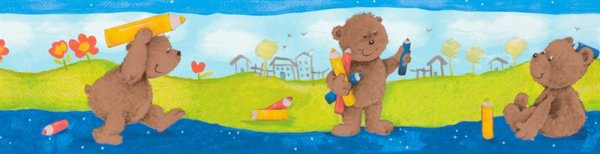 Bordüre selbstklebend Kinderzimmer Tiermotiv Föhlicher Bär