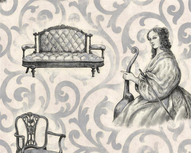 tapeten epoche zeitalter barock schwarz silber. Black Bedroom Furniture Sets. Home Design Ideas