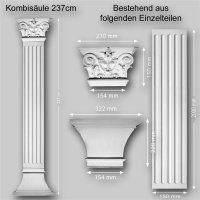 Wandelement Pilaster Säule Set 3 teilig Höhe 237cm