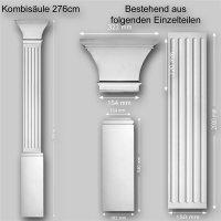 Wandelement Pilaster Säule Set 3 teilig Höhe 276cm