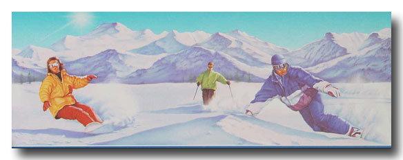 Bordüren Borte Kinderzimmer Ski Fahrer