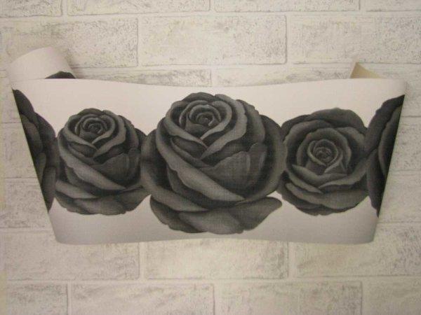 Borte Tapetenborte Vlies Rosen schwarz weiß