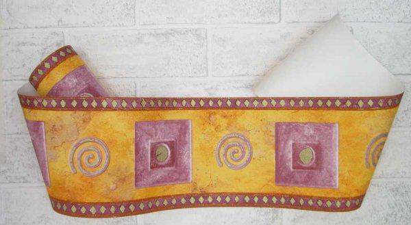 Borte Grafik Violett orange rotbraun gold