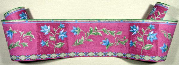 Bordüre Borte floral blau grün fuchsia