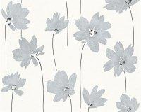 Vliestapete Life Blumen Floral Creme Silber