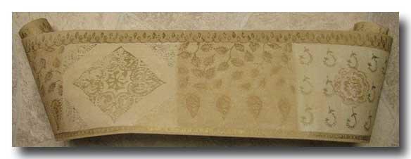 Tapetenborte Borte Papier Barock beige gold