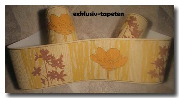 Borte Tapetenborte floral orange braun gold