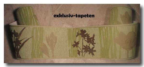 Borte Tapetenborte floral grün braun  gold