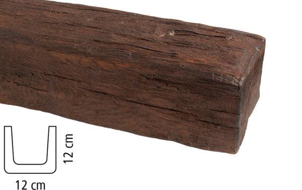 Balken Polyurethan - Eiche dunkel - 2 m lang 12 x 12 cm