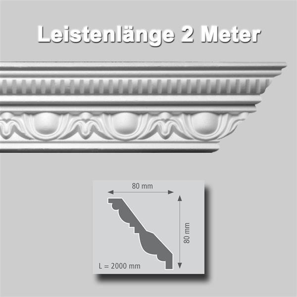 Zierprofile extrudiert Polystyrol 80 x 80 mm