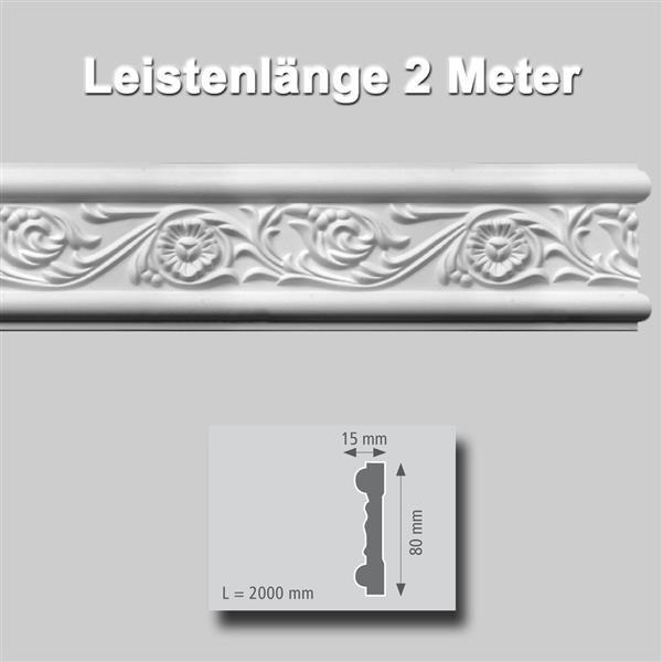 Wandleiste extrudiert Polystyrol 15 x 80 mm
