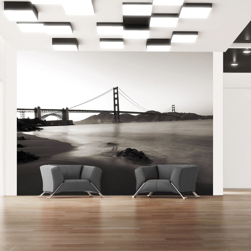 fototapete san francisco golden gate in schwarz weiss. Black Bedroom Furniture Sets. Home Design Ideas