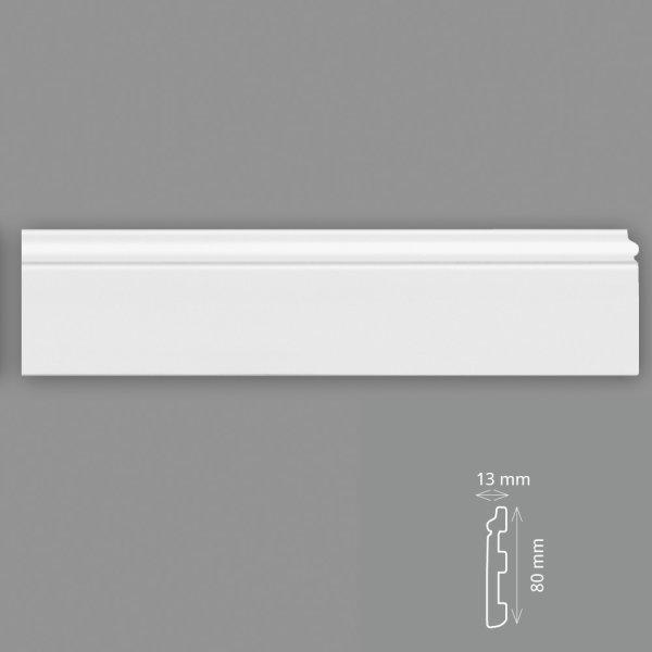 Fußleisten 2 Meter 8 cm hoch HD - Polymer weiß überstreichbar