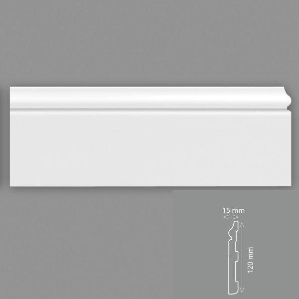 Fußleisten 2 Meter 12 cm hoch HD - Polymer weiß überstreichbar