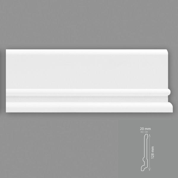 Fußleisten 2 Meter 12,8 cm hoch HD - Polymer weiß überstreichbar