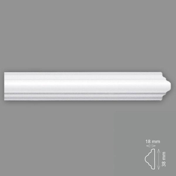 Wandleisten 2 Meter 38/18 mm HD Polymer überstreichbar