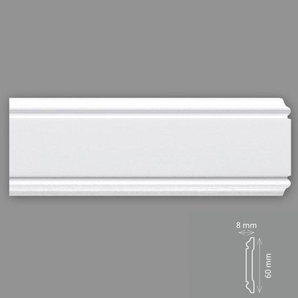 Wandleisten 2 Meter 60/8 mm HD Polymer überstreichbar