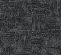 Vliestapete Tapete Saffiano Kachel Look schwarz silber