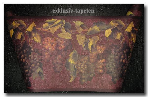 Bordüre Tapetenborten Weintrauben Ranken Wein