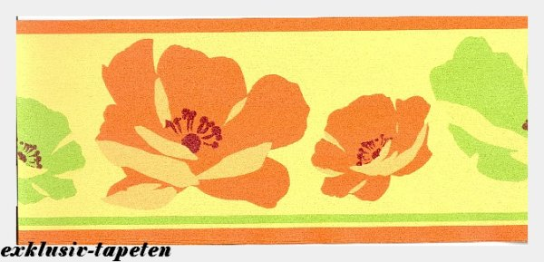Bordüre Tapetenborten Retro Flower Power