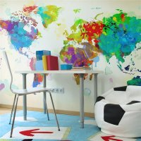 450x270 cm Fototapete Paint splashes map of the World