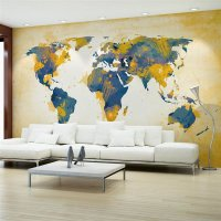 450x270 cm Fototapete Map of the World Sun and sky