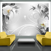 250x175 cm Fototapete Orchids on silver