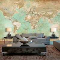 500x280 cm XXL Tapete  Turquoise World Map II