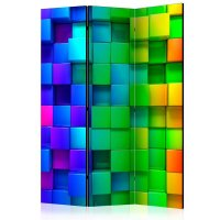 135x172 cm 3 - teiliges Paravent Colourful Cubes