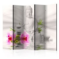 225x172 cm 5 - teiliges Paravent Buddha and Orchids II