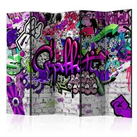 225x172 cm 5 - teiliges Paravent  Purple Graffiti