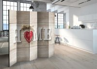 225x172 cm 5 - teiliges Paravent  Home and red heart