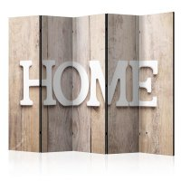 225x172 cm 5 - teiliges Paravent   Home on wooden boards